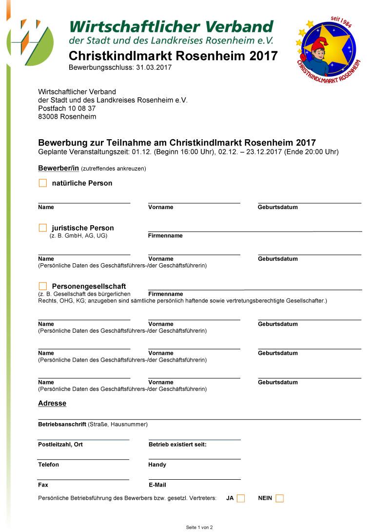 bewerbungsbogen christkindlmarkt 2018 - Bewerbung Ende
